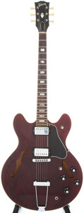 Musical Instruments:Electric Guitars, 1976 Gibson ES-335TD Burgundy Semi-Hollow Body Electric Guitar,Serial # 00108316....
