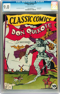 Classic Comics #11 Don Quixote - First Edition (Gilberton, 1943) CGC VF/NM 9.0 Off-white to white pages