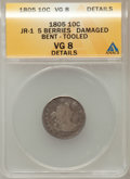 Early Dimes, 1805 10C 5 Berries -- Damage, Bent, Tooled -- ANACS. VG8 Details.JR-1. NGC Census: (8/241). PCGS Population (15/304). ...