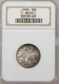 Barber Quarters: , 1909 25C MS64 NGC. NGC Census: (126/45). PCGS Population (125/79).Mintage: 9,268,650. Numismedia Wsl. Price for problem fr...