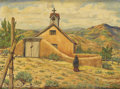 Texas:Early Texas Art - Regionalists, TASSIE WOOD PICKETT (dec.). Indian Church of Condiyo N-Mex.Oil on canvasboard. 12in. x 16in.. Signed lower right. Title...
