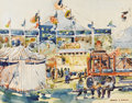 Texas:Early Texas Art - Modernists, SAMUEL GIDEON (1875-1945). Untitled Circus Scene. Watercolor.11.5in. x 14.25in.. Signed lower right. Samuel Gideon studie...