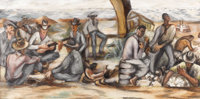 WPA SCHOOL(1930s) Untitled WPA Mural Study Oil on masonite 14.5in. x 28in. Unsigned  A WPA mural study depicting singi...