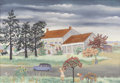 Texas:Early Texas Art - Regionalists, ETHEL SPEARS (1903-1974). Farm House, 1940s. 16in. x 23in..Signed lower right. Signed and titled verso. A typical Eth...