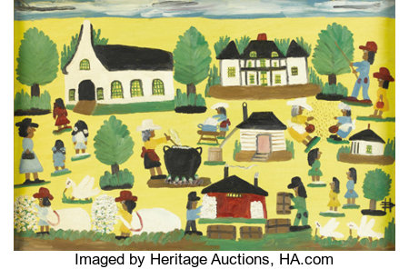 CLEMENTINE HUNTER (1886-1988)Cane River and Melrose Plantation SceneOil on canvasboard24in. x 36in.Signed lower ...