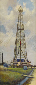 Texas:Early Texas Art - Regionalists, ROLLA TAYLOR (1871-1970). Oil Derrick, early 1930s. Oil oncanvas. 60in. x 26in.. Signed lower left. Dated verso. This...