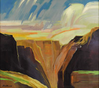DOEL REED (1895-1985) Untitled Canyon Scene Oil on canvas 30in. x 34in. Signed lower left  One element of Modernism is...