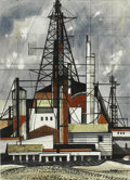 Texas:Early Texas Art - Modernists, MICHAEL FRARY (1918-2005). Drilling Rig. Watercolor. 30in. x21in.. Signed lower right. Michael Frary attended college...
