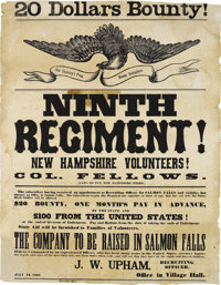 Civil War Recruitment: An Outstanding Large Poster from New Hampshire. This beauty features a classic American eagle car...