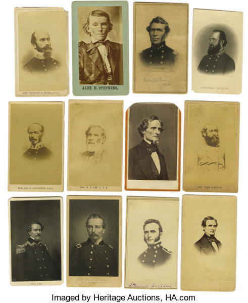 Seven PhotographyCDVs Dealers Lot Of Thirty Confederate States Related Cartes DeVisite
