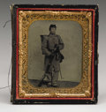 Military & Patriotic:Civil War, Armed Union Private 1/6th Plate Tintype. The resolute young soldier is this scarce image is well-armed with an imported Aust...