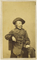 Military & Patriotic:Civil War, George Armstrong Custer Wartime CDV, John Goldin & Co., Washington, D.C. backmark. The normally flamboyant Custer is here sh...