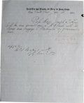 "Autographs:Military Figures, Abner Doubleday Document Signed, ""A. Doubleday"". One page on letterhead of ""Head-Q'rs 2nd Brigade, 1st Dv'n, 1st Army Co..."