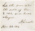 """Military & Patriotic:Civil War, Abraham Lincoln Clipped Endorsement Signed, """"A. Lincoln"""". One page, 3"""" x 3"""", November 23, 1864. Above the date and signa..."""