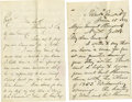 Autographs:Military Figures, Two Union Generals' Letters. The first is a letter from UnionGeneral Daniel Sickles concerning Grant and Lincoln. Major Gen...