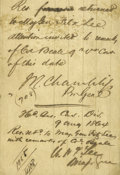Autographs:Inventors, Confederate Generals John R. Chambliss Jr. and W. H. F. Lee Endorsements on 1864 Confederate Document. Clipped section of an...