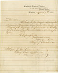"""Autographs:Military Figures, Group Lot of Nine Scarce Confederate Generals' Autographsconsisting of: . """"States Rights"""" Gist- Fine pencil clip from a..."""