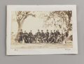 Photography:Studio Portraits, Brady Albumen Print Showing Major General Ambrose Burnside and Staff. Twenty Union officers are gathered around a seated Amb...