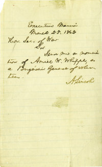 "Abraham Lincoln Wartime Autograph Letter Signed, ""A. Lincoln"". One page, 4.5"" x 7.75"", Washington, D..."