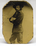 Photography:Tintypes, Maj.Gen George Armstrong Custer: A Rare Civil War Tintype Image Almost certainly a Brady image, as he seems to be in the sam...