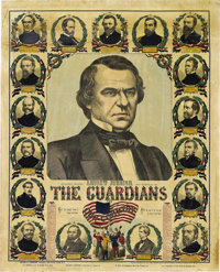 """Andrew Johnson: A Rare Large 1865-Dated Poster Honoring Him as the New President. Johnson's """"honeymoon period""""..."""