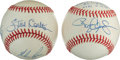 Baseball Collectibles:Balls, Pitching Greats Who Tallied 19 and 20 Strikeouts in Game MultiSigned Theme Baseballs Lot of 2....