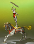 Silver Holloware, American:Other , A TWO PART TIFFANY & CO. SILVER AND ENAMEL CIRCUS PERFORMER ANDHORSE DESIGNED BY GENE MOORE . Made in Italy for Tiffany & C...(Total: 2 Items)