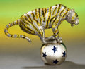 Silver Holloware, American:Other , A TIFFANY & CO. SILVER AND ENAMEL TIGER AND BALL DESIGNED BYGENE MOORE . Made in Italy for Tiffany & Co., New York, NewYor... (Total: 2 Items)
