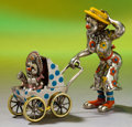 Silver Holloware, American:Other , A THREE PART TIFFANY & CO. SILVER AND ENAMEL CIRCUS CLOWNMOTHER AND BABY IN CARRIAGE . Made in Italy for Tiffany & Co.,New... (Total: 4 Items)