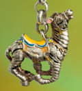 Silver Holloware, American:Other , A TIFFANY & CO. SILVER AND ENAMEL CIRCUS ZEBRA KEY CHAINDESIGNED BY GENE MOORE . Made in Italy for Tiffany & Co., NewYork,...