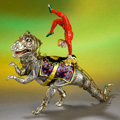Silver Holloware, American:Other , A TWO PART TIFFANY & CO. SILVER AND ENAMEL CIRCUS PERFORMER ANDDINOSAUR DESIGNED BY GENE MOORE . Made in Italy for Tiffany ...