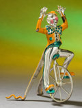 Silver Holloware, American:Other , A TIFFANY & CO. SILVER AND ENAMEL CIRCUS CLOWN ON UNICYCLEDESIGNED BY GENE MOORE . Made in Italy for Tiffany & Co., NewYor...