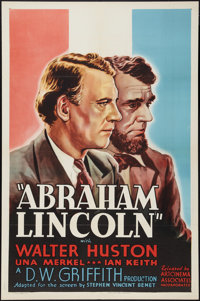 "Abraham Lincoln (Art Cinema, R-1937). One Sheet (27"" X 41""). Drama"
