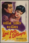 "Movie Posters:Mystery, Love from a Stranger (Eagle Lion, 1947). One Sheet (27"" X 41"").Mystery.. ..."