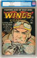 Golden Age (1938-1955):War, Wings Comics #28 (Fiction House, 1942) CGC VF- 7.5 Off-whitepages....