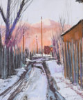Works on Paper, DINAH K. WORMAN (American, b. 1950). Alley of Mud, Snow, and Light, 2005. Pastel on board. 9 x 7-1/2 inches (22.9 x 19.1...