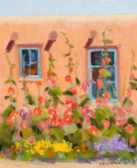 BYRON FULLERTON (American, b. 1929) Adobe with Flowers Oil on canvas 10 x 8 inches (25.4 x 20.3 c