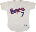 Baseball Collectibles:Uniforms, Julio Franco, Juan Gonzalez and Ivan Rodriguez Game Worn Jerseys Lot of 3....