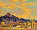 Western:Modern, ILA MAE MCAFEE (American, 1897-1995). Golden Clouds. Oil onartists' board. 13 x 16 inches (33.0 x 40.6 cm). Signed lowe...