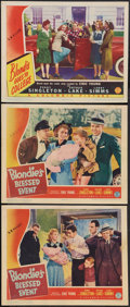 """Movie Posters:Comedy, Blondie's Blessed Event and Other Lot (Columbia, 1942). Lobby Cards(3) (11"""" X 14""""). Comedy.. ... (Total: 3 Items)"""