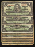 Canadian Currency: , BC-21c $1 1937 Wide Signature Panel Variety Eight Examples.. ...(Total: 8 notes)