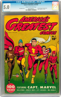 America's Greatest Comics #1 (Fawcett, 1941) CGC VG/FN 5.0 Cream to off-white pages