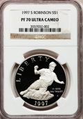 Modern Issues: , 1997-S $1 Jackie Robinson Silver Dollar PR70 Ultra Cameo NGC. NGCCensus: (38). PCGS Population (69). Mintage: 110,495. Num...