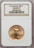 Modern Bullion Coins, 2002 G$25 Half-Ounce Gold Eagle MS70 NGC. NGC Census: (972). PCGSPopulation (9). Numismedia Wsl. Price for problem free N...