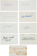 Autographs:Index Cards, 1950's-90's Baseball Legends Signed Index Cards Lot of 9....