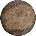 Autographs:Baseballs, 1918 Ty Cobb & George Sisler Signed Game Used Baseball--BothPitch Before WWI Departure!...
