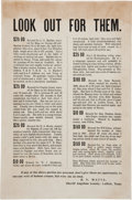 """Miscellaneous:Ephemera, Lufkin, Texas. Wanted Poster titled """"Look Out For Them.""""..."""