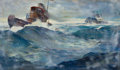 Mainstream Illustration, Attributed to ANTON OTTO FISCHER (American, 1882-1962). Tuff andTanker on Rough Seas. Oil on canvas. 21 x 36 in.. Not s...