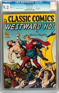 Classic Comics #14 Westward Ho! - First Edition (Gilberton, 1943) CGC NM- 9.2 Off-white pages