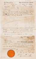 Autographs:Statesmen, Henry Francis Fisher Autograph Document Twice Signed...